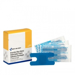 Blue, metal detectable woven knuckle bandage - 40 per box