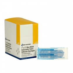"1""x3"" Blue, metal detectable woven bandage - 100 per box/Case of 12 @ $8.50 ea."