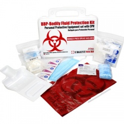 BBP / Bodily Fluid Protection Kit with Bonus 6 piece CPR kit for additional Rescuer Protection