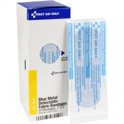 "1"" X 3"" VISIBLE BLUE METAL DETECTABLE BANDAGES, 25 each - SmartTab™"