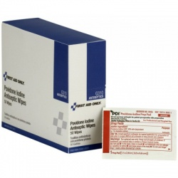"1-1/4""x2-1/2"" Povidone-iodine infection control wipe - 50 per box Case of 18 @ $7.50 ea."