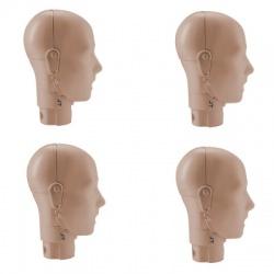 PRESTAN ADULT MANIKIN JAW THRUST HEAD ASSEMBLY - 4 PACK - MEDIUM SKIN
