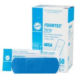 "The 1"" x 3"" Blue Foam Metal Detectable Adhesive Bandages - 40 per Box"