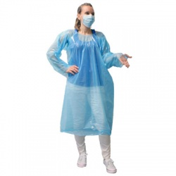 ECONOMY, ONE TIME USE, DISPOSABLE GOWN WITH THUMB HOOKS, INDIVIDUALLY BAGGED, BLUE, 1 EACH