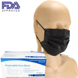 FACE MASK WITH EAR LOOP, FDA APPROVED, BLACK, BOX OF 50