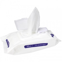 ALCOHOL WIPES, LARGE, 75% ALCOHOL, 60 WIPES PER PACK