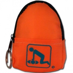 CPR Beltloop/KeyChain BackPack: ORANGE - Shield-Gloves-Wipe