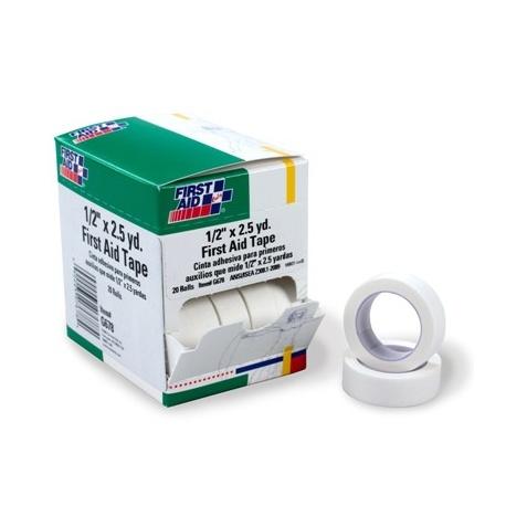 """1/2""""x2.5 yd. First aid tape roll - 20 per box"""