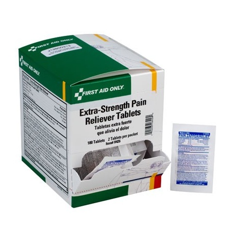 Extra-strength pain reliever tablets, 2 per pack - 100 per box