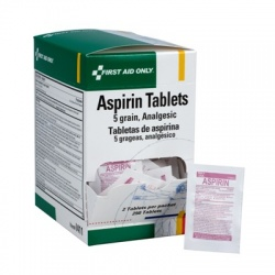 Aspirin, 5 grain tablets, 2 per pack - 250 per box