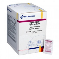 Aspirin, 5 grain tablets, 2 per pack - 500 per box