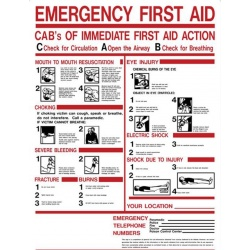 "24""x19"" Plastic ABC's of Emergency First Aid sign"