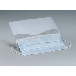 Clear, plastic eye shield w/ear loop mask