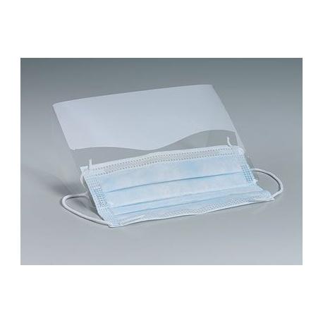 Clear, plastic eye shield w/ear loop mask