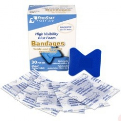 Fingertip Blue Foam Metal Detectable Adhesive Bandages, 30 per Box