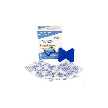 Fingertip Blue Foam Metal Detectable Adhesive Bandages, 30 per Box