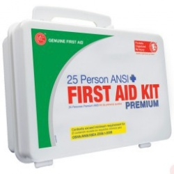 25 Person First Aid Kit by Genuine First Aid, Plastic Case