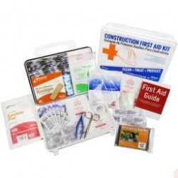 Bilingual OSHA Contractors First Aid Kit for Job Sites up to 25 People – Gasketed Plastic, 180 pieces