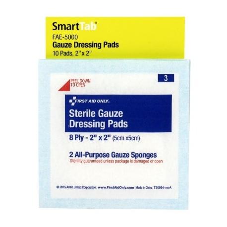2 inch x 2 inch Gauze Dressings, 10 each - SmartTab EzRefill