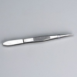 "3-1/2"" Deluxe tweezers, stainless steel, pointed edge"
