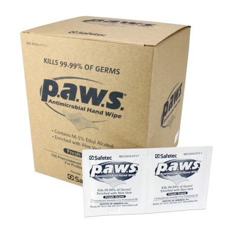 P.A.W.S.™ antimicrobial (kills germs) wipe - 100 bx Case of 10 @ $7.39 ea.