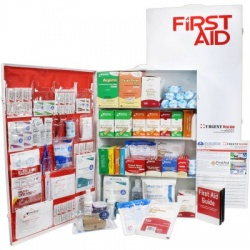 4 Shelf Industrial First Aid Station, Metal, Pocketliner, 1,091 Pieces, ANSI A+
