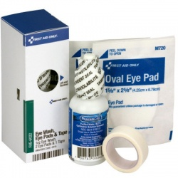 Eye Care Kit, 1 oz. Eyewash, 2 Oval Eye Pads and Tape Roll - SmartTab EzRefill