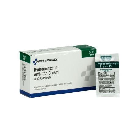 1% Hydrocortisone Cream USP, .9 gm pack - 25 per box/Case of 18 $4.70 each