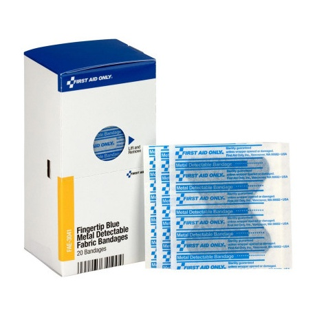 Fingertip Blue Metal Detectable Bandages, 40 Per Box - SmartTab EzRefill
